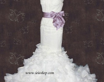 Ready to Ship Size 2 Strapless Fit and Flare Mermaid Ruffle Wedding Gown