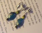 Clip-On Turquois and Gold Glass Beaded Earrings for unpierced ears