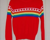 Vintage Red Knitted Valentines Heart Sweater Size S-M