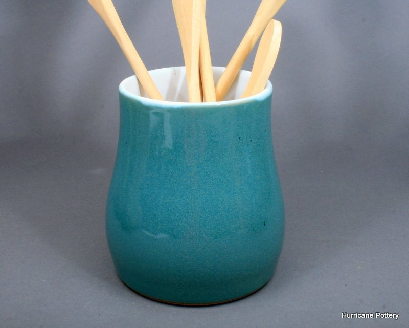 Aqua Kitchen Utensil Holder Hand Thrown Ceramic Tool Caddy