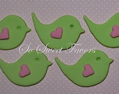 Fondant edible cupcake toppers - Lime green and pink birdie bird