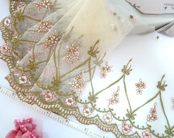 Lace trim,  Embroidered lace, Embroidered tulle trim, Embroidered net lace, Bridal lace, Doll trim, 2  yards YL026