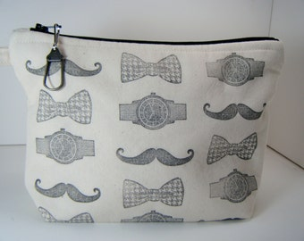 Mustache Watch Bow Tie Hand Stamped Cosmetic Makeup Travel Makeup Bag Muslin Black