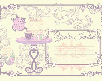 Tea Party Invitation Blank Downloadable