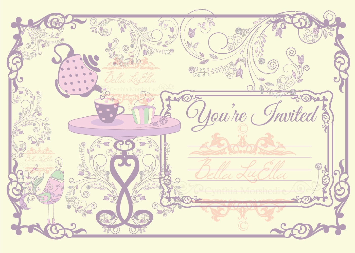 Blank tea party invitation template stopboris Image collections