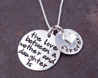 The Love Between A Mother & Daughter is Forever - Custom necklace - Mother's Day - Mom Necklace