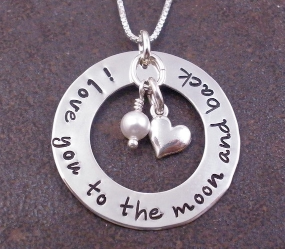 Hand Stamped Necklace - I love you to the moon and back - sterling silver