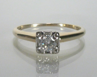 Vintage Diamond Engagement Ring - Antique Illusion Head Solitaire - 0.20 Carats