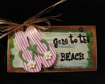 Hand painted Gone to the Beach Green