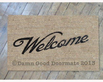 Welcome door mat- Hand Painted