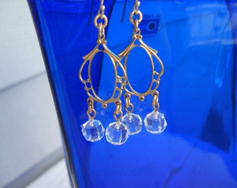 Vintage Victorian Inspired Antique Faceted Glass Gold Dangle Earrings