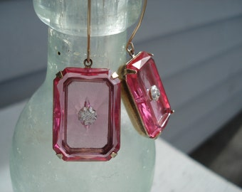 Holiday SALE 1920's Art Deco Vintage Etched Faceted Czech Crystal Pink Glass Gold Earrings