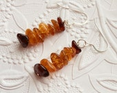 Beautiful Golden Dark Rich Honey Natural Baltic Amber Silver Dangling Earrings