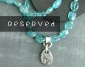 RESERVED Gemstone Teal Apatite Nuggets & Rustic Silver Paisley Teardrop Necklace