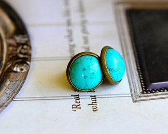 Turquoise Stud Earrings Turquoise Australian Jewellery Seven Blueberries