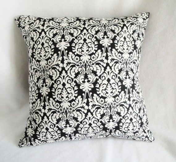 Black Damask Pillow cover, black & cream, 18 inch, onyx pillow slip, envelope opening, custom sizes available