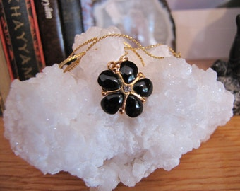 Vintage Mid Century Black Onyx  with White Sapphire 18kt Gold Electroplated Flower Necklace
