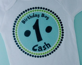 Personalized First Birthday Boy Circle Design Tee or Onesie Green and Blue (08302010a)