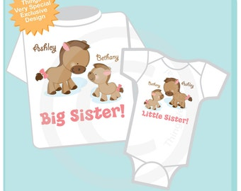 Set of Two, Big Sister and Little Sister Shirt and Onesie, Sibling Sister Set Personalized Cute Horses Sprinkle Baby Shower Gift (03302013a)