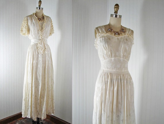 1930s Gown and Duster -  THE TROUSSEAU Vintage Ivory White Rayon Deco Wedding Nightgown and Long Jacket