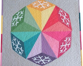 Snowflakes quilt pattern- pieced and appliqued quilt pattern