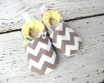 SALE Classic Vegan Chevron Grey And Yellow / All Fabric Soft Sole Baby Shoes / Made to Order