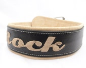 Two Inch Adjustable Personalized Leather dog collars.  Sizes from 18-24 inches