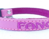 "Personalized Leather Cat Collar with Saftey Breakaway Buckle by Ruggit Collars (3/8"" width)"