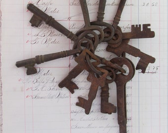 Antique Skeleton Keys - Iron - Brass - Folding Key - Ring of 12     M357
