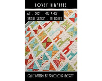 Quilt Pattern PDF Lovey Giraffes Baby Applique -- Fat Eighth Friendly