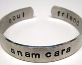 Hand Stamped Bracelet, Personalized Jewelry, Anam Cara