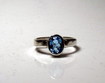 Blue Topaz In Sterling Silver Solitare Ring RF548