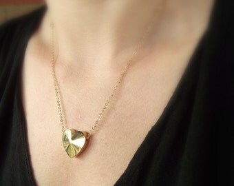 Gold Heart Necklace, Gold Necklace, Valentine's Day Gift