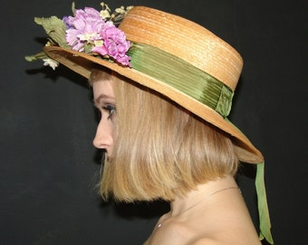 Vintage Straw HAT with Flowers, Betmar for Lord and Taylor, 1940-1950