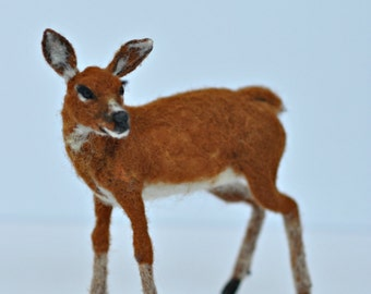 Needle felted animal. Deer . Soft sculpture.  Made to order
