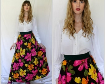 Elegant Pleated Brown Floral Maxi Skirt - 1970s Vintage - Olive Tangerine Lemon Hibiscus - Small
