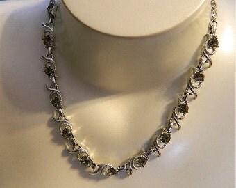 Vintage Necklace, Sarah Coventry Silvertone and Gray Rhinestone Choker Adjustable: Gray Rocks