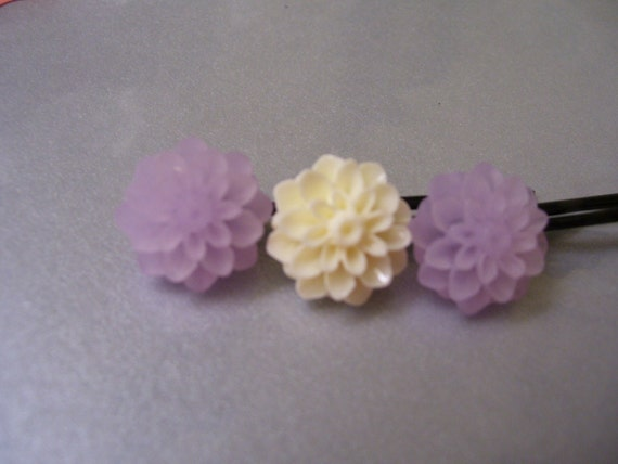 Lilly Pad Lavender & Creme Hair Pins
