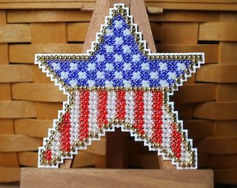 Patriotic Star Beaded Cross Stitch Ornament, Pin, or Magnet - Free U.S. Shipping