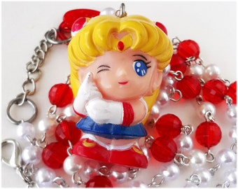 Sailor Moon Necklace, Red and White Pearl Chain, Anime Figure Pendant in Silver - Magical Girl