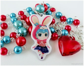 Miku Hatsune Necklace, Red and Teal Rosary Chain, in Silver - Kawaii Jewelry