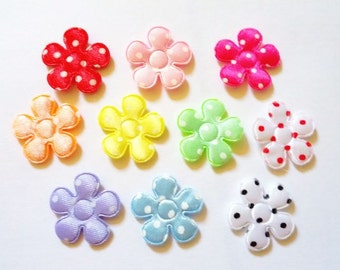 100 pcs - Satin Flowers Padded Appliques - mix color - size 20 mm