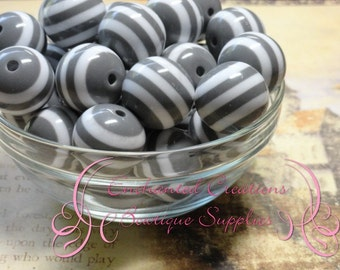 20mm Grey and White Striped Beads Qty 10