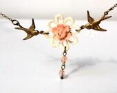 Love birds necklace cream daisy lace dusky pink vintage bride bridesmaid spring