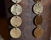 Brass Metal Earrings Dangle Long disc hammered forged