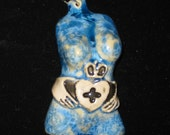 Irish Claddagh Blue  Crystalline Glazed Goddess Porcelain Torso Pendant