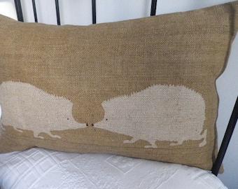 handprinted golden brown hedgehog pair cushion cover
