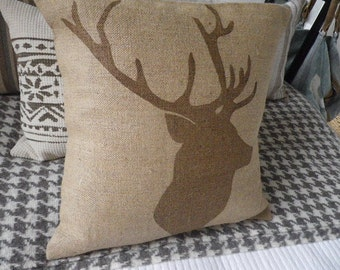 hand printed reversible  natural stags head silhouette and  triple stag cushion cover
