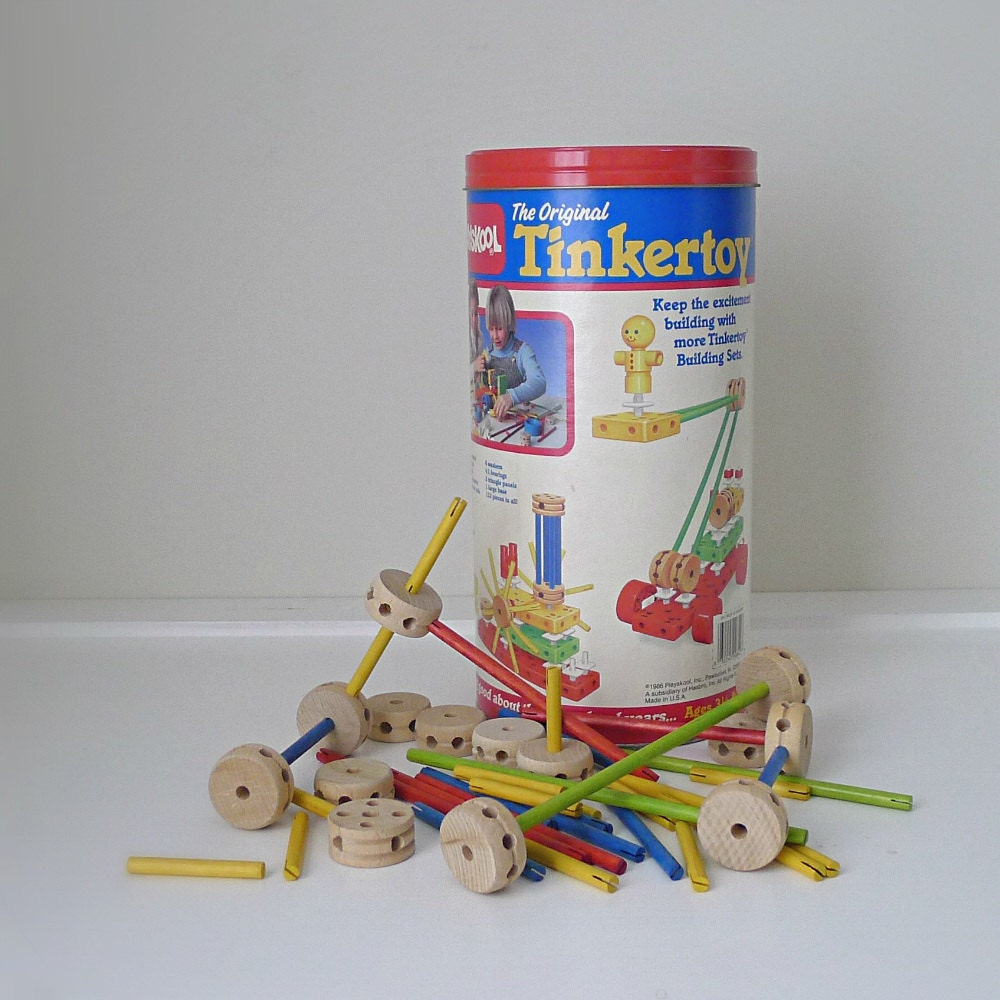 Tinker Toys For Boys : Vintage s playskool tinker toy set kids wooden