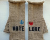 Knuckle Tattoo Inspired Fingerless Gloves - LOVE & HATE Tattoo - Valentine - Anti Valentine - Heart and Anchor - for women and teens